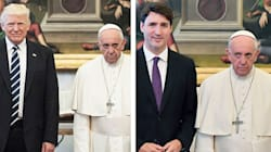 Non solo Trump: anche con Trudeau l'espressione del Papa è la stessa (ma c'è una