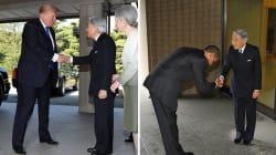 Il gesto di saluto Trump all'imperatore del Giappone rompe il protocollo e mostra la differenza con
