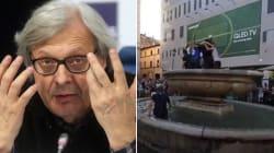 Tifosi francesi assaltano i monumenti romani. La rabbia di Sgarbi: