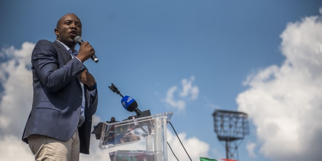 PRETORIA, SOUTH AFRICA – APRIL 27: Leader of the Democratic Alliance, Mmusi Maimane, during Freedom movement rally in Pretoria.  He delivered the keynote address.  Opposition parties, religious leaders and civil society came together to protest against President Jacob Zuma at The Caledonian Stadium, Tshwane on Freedom Day. This day commemorates the country's first post-apartheid elections held in 1994. This year signals 23 years of South Africa's democracy.  (Photo by Gallo Images / Alet Pretorius)