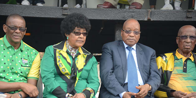 Ace Magashule, Winnie Madikizela-Mandela, Jacob Zuma and former Rivonia trialist Andrew Mlangeni during 105th anniversary celebrations of the founding of the African National Congress (ANC) in 2016. Photo by Frennie Shivambu/Gallo Images/Getty Images