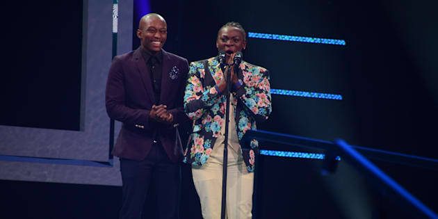 Vazi and Khaya Dladla attends the 22nd annual South African Music Awards (SAMAs) at the Durban International Convention Centre on June 04, 2016 in Durban, South Africa. The SAMAs are the Recording Industry of South Africa's music industry awards, established in 1995.