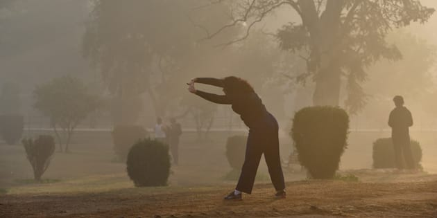 Morning walkers and fitness enthusiasts come to Lodhi garden early on a winter morning.
