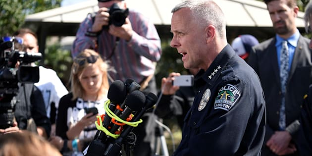 Austin Police Chief Brian Manley speaks during a news conference near the scene where a woman was injured by a package bomb on March 12. Manley told reporters that there are similarities in the four devices that exploded.