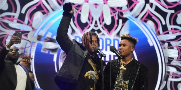 "Distruction Boyz receives the Record of the Year award for the hit song, ""Omunye"" ft Benny Maverick and Dladla Mshunqisi."