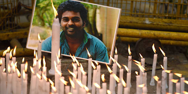 Activists of various organizations participate in a candlelight march to observe Rohith Vemula's first death anniversary at Jantar Mantar, on January 17, 2017 in New Delhi, India.