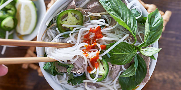 The Vietnamese soup, pho, is pronounced 'fuh'.