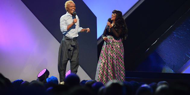 Somizi Mhlongo and Tumi Morake during the 23rd annual South African Music Awards (Sama 23) ceremony at Sun City on May 27, 2017.