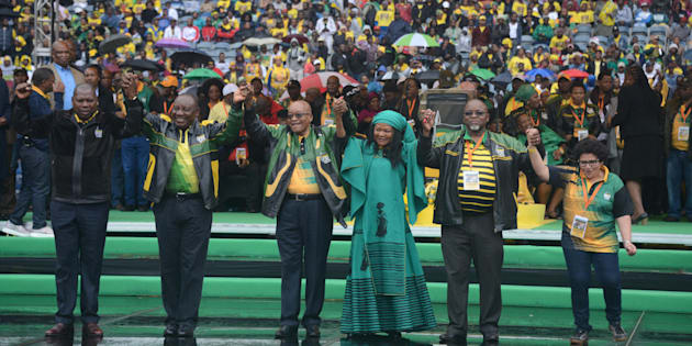 The ANC top six during the party's 105th birthday celebrations.