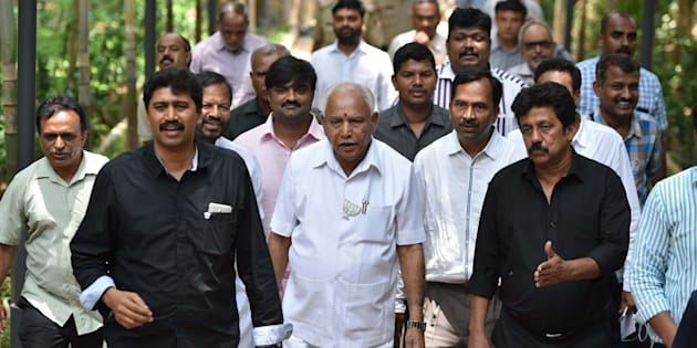 BENGALURU, INDIA - MAY 6: Bharatiya Janata Party's Chief Minister candidate BS Yeddyurappa during a press conference at Press Club, on May 6, 2018 in Bengaluru, India. Yeddyurappa said, 'Dont rest now. If you think that somebody isnt voting, go to their homes, tie up their hands and legs and bring them to vote in favour of Mahantesh Doddagoudar (sic).' (Photo by Arijit Sen/Hindustan Times via Getty Images)