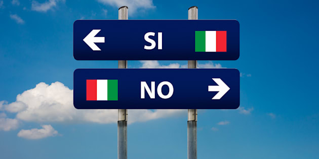 two road signs and italian referendum SI (yes) or NO (no)