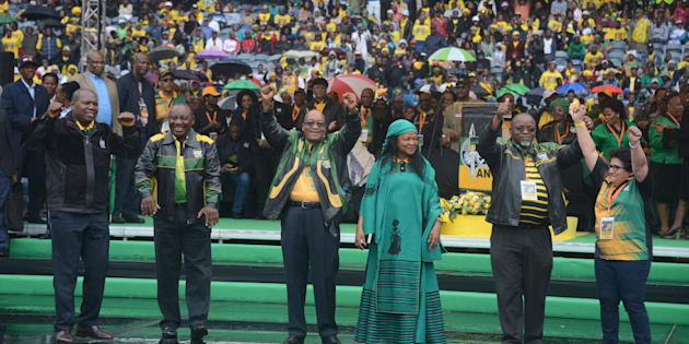 ANC secretary general Gwede Mantashe,deputy secretary general Jessie Duarte, treasury general Zweli Mkhize, Baleka Mbete, Deputy President Cyril Ramaphosa and President Jacob Zuma  during the ANC's 105th anniversary celebrations in January 2016. The ANC's top players have a difficult weekend ahead.