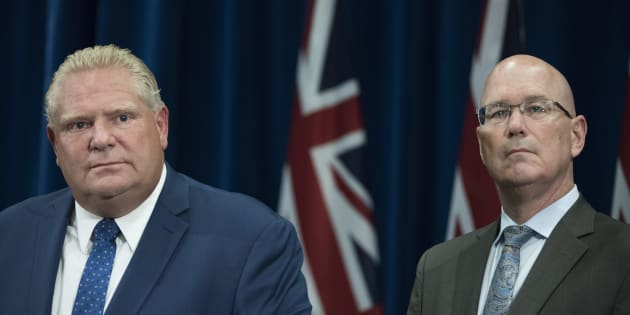 Ontario Premier Doug Ford and Minister of Municipal Affairs and Housing Steve Clark attend a press conference on Sept. 10, 2018.