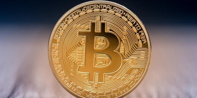 A single bitcoin coin.