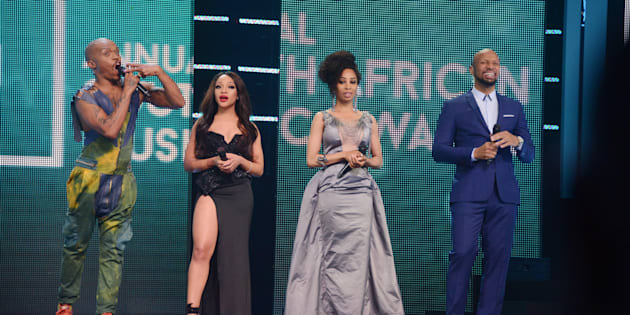 Somizi Mhlongo, Thando Thabethe, Khanyi Mbau and Phat Joe onstage during the 22nd annual South African Music Awards (SAMAs) in Durban in June 2016 in Durban.