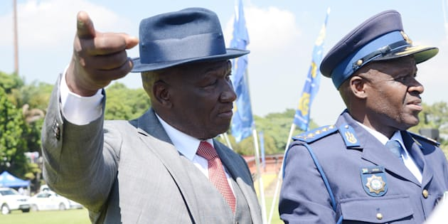 Police minister Bheki Cele and National Police Commissioner General Khehla John Sithole during the South African Police Service (SAPS) parade to officially welcome the new minister at the SAPS Tshwane Academy on March 09 2018 in Pretoria.