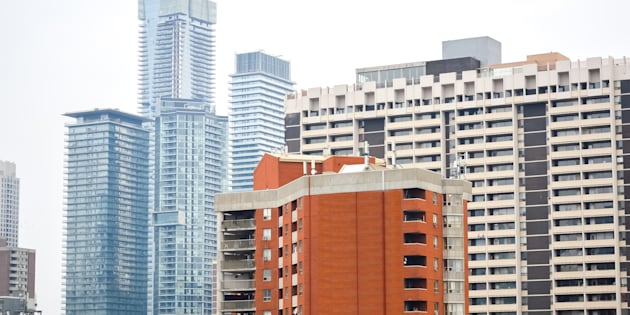 Condo and apartment buildings in downtown Toronto. A new index of rental housing costs shows rental housing affordability problems extend well beyond Canada's major cities.