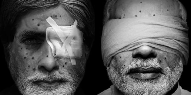 Morphed images of Amitabh Bachchan and Narendra Modi.