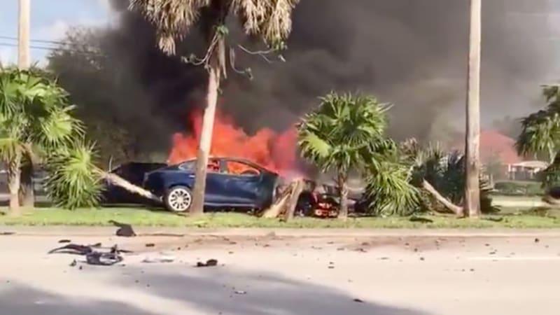 Tesla driver gets trapped in burning car, dies after crash