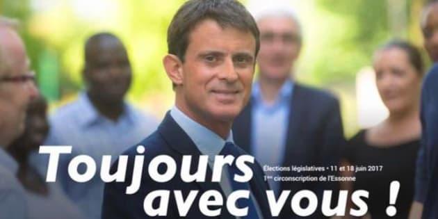 """""""Toujours avec vous"""": cet ancien tract de Valls qui se partage pour railler sa candidature à Barcelone."""
