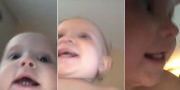An adorable video captured a baby making off with a recording cell phone