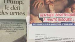 Une publicité pour la Manif pour tous accompagnant le journal
