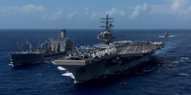 アメリカと韓国の合同軍事演習に参加する予定のアメリカの空母ロナルド・レーガン=10月9日、朝鮮半島南西