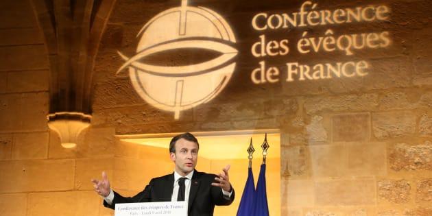 Emmanuel Macron lors de la Conférence des évêques de France à Paris le 9 avril 2018.