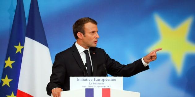 """Emmanuel Macron, ici lors de son discours à la Sorbonne en septembre 2017, n'en a pas fini de l'expression """"Spitzenkandidat""""."""