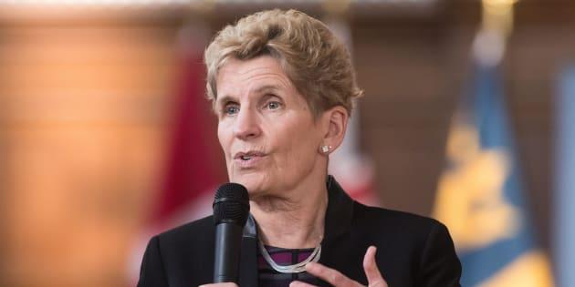 Ontario's Premier Kathleen Wynne speaks in Kingston, Ont., on Feb. 14, 2018.