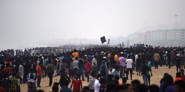 Indian police try to control a protest against the ban on the Jallikattu bull taming ritual at Marina Beach.
