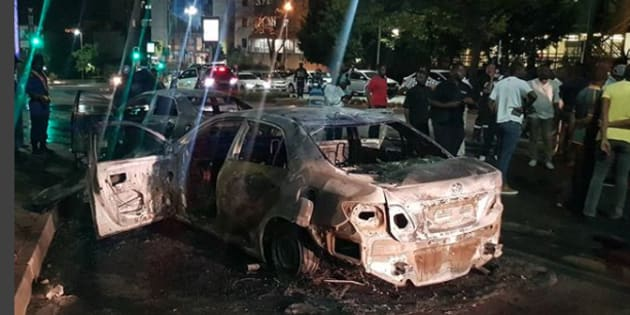 Three Uber and meter taxi vehicles torched in Sandton