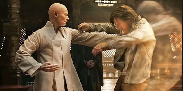 "Tilda Swinton as The Ancient One in ""Doctor Strange."""