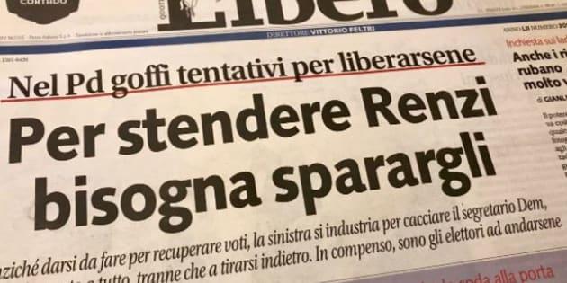 Pd: Fnsi, titolo 'Libero' contro Renzi è istigazione a violenza e odio