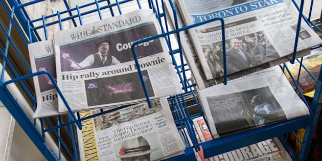 Newspapers for sale at a convenience store in Kingston, Ont., on May 25, 2016. All signs point to print media getting a much-needed financial assist from the federal government in the next budget.