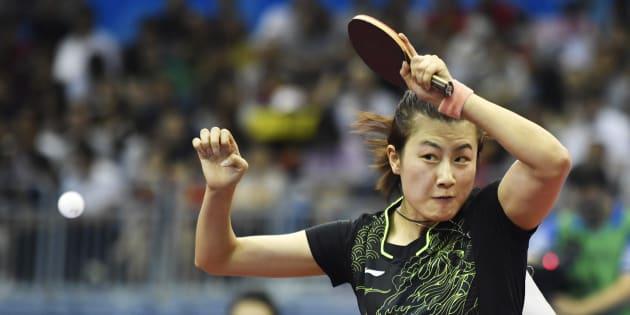La championne du monde de tennis de table Ding Ning.