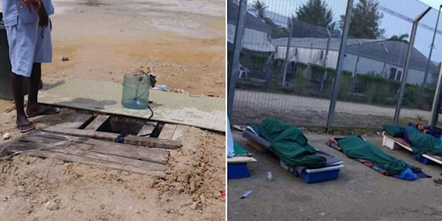 The well bringing up dirty water, and makeshift beds placed outside to escape the stifling indoor heat