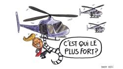 Le convoi d'hélicoptères de Trump a été très remarqué par les internautes