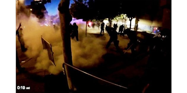 Smoke grenade deployed at protest outside Trump rally in Albuquerque