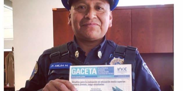 Pedro, oficial de seguridad que volvió a la escuela en el #INEE.