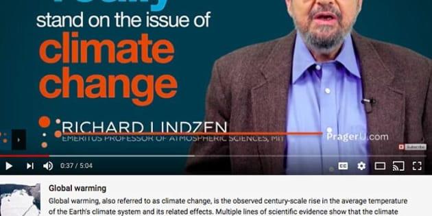 """Image extraite d'une vidéo de PragerU, qui entend """"rétablir la vérité"""" sur le changement climatique, et sous laquelle apparaît désormais un message renvoyant vers Wikipedia"""