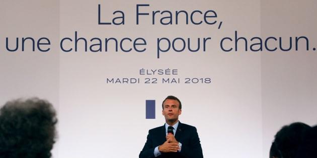 Emmanuel Macron lors de la conférence de presse sur les banlieues, le 22 mai 2018 à Paris.