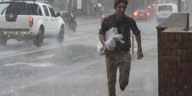 The Brisbane CBD copped a soaking when a storm hit south-east Queensland on Wednesday.