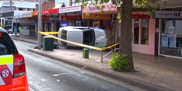 The car also crashed into a pole and hit a motorbike.