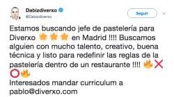 Dabiz Muñoz ofrece trabajo en Twitter y pasa justo lo contrario de lo que