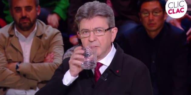 """Jean-Luc Mélenchon lors du """"Grand débat"""" sur TF1 le 20 mars 2017."""