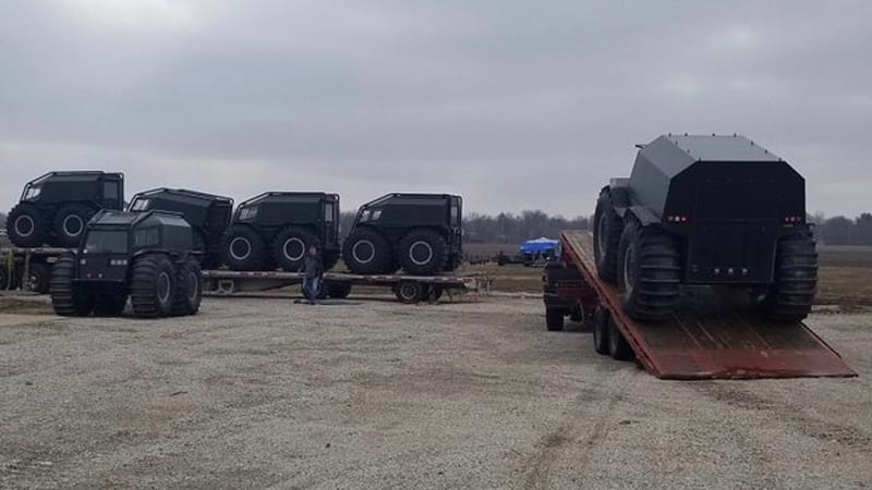 Kanye West's Russian ATVs invade Chicago to deliver new shoe to kids 1