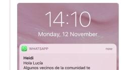 Sorpresa en Twitter por el WhatsApp que le mandaron los vecinos a esta