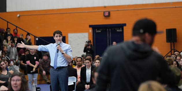 Prime Minister Justin Trudeau participates in a town hall at Thompson Rivers University in Kamloops, B.C. on Jan. 9, 2019.