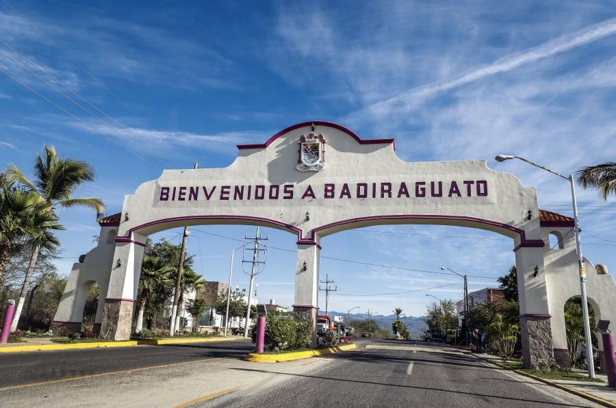 Vista del arco de bienvenida a Badiraguato, en el Estado de Sinaloa, el 8 de febrero de 2019.